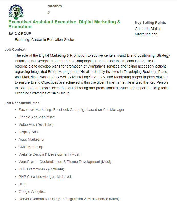 Executive Assistant Executive, Digital Marketing & Promotion